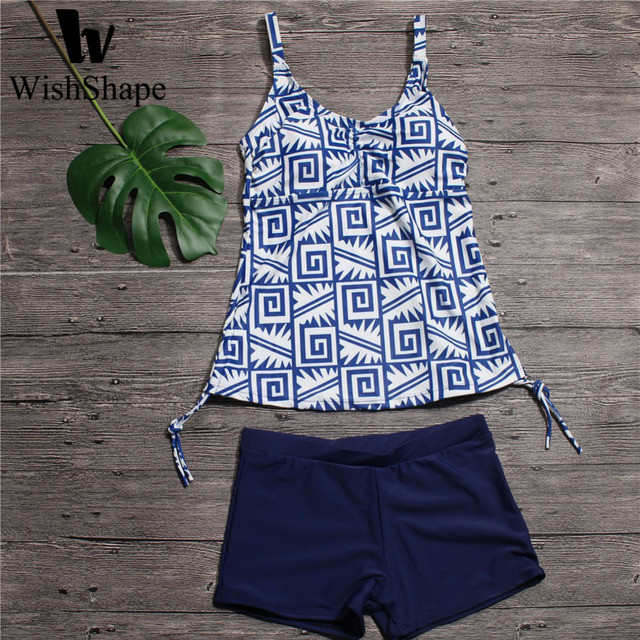 7a9fa82062e Tankini Swimsuits With Shorts Women Geometric Print Swimwear Sexy Open Back  Bathing Suit V Neck Push Up Swiming Suits Beach Wear