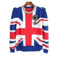 Runway Designer Pullover 2017 Winter Sweater Women British Flag Jacquard Jersey Casual Badge Knit Jumper Tops