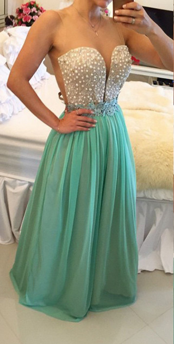 2017 Tulle A-Line   Prom     Dresses   Sweetheart neckline with pearls bodice and Sexy Sheer Back   Prom     Dresses