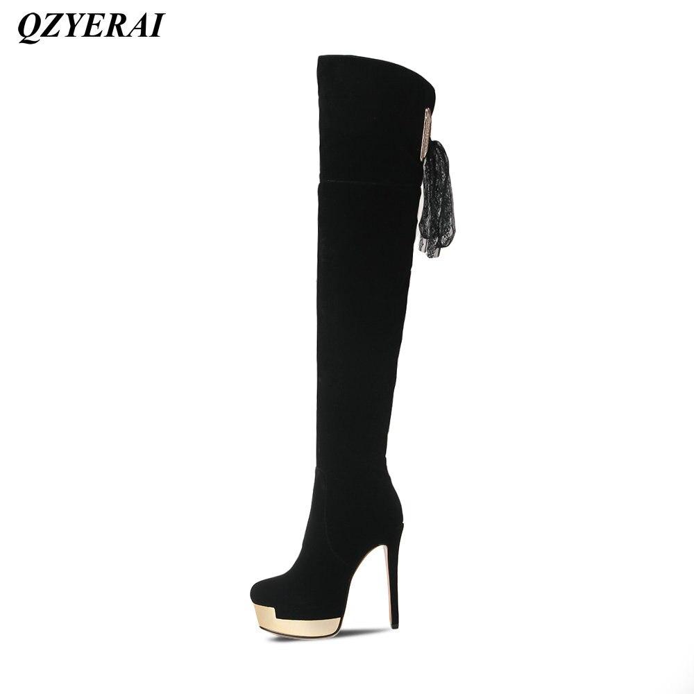 QZYERAI Winter ladies high heels knees metal boots font b womens b font font b shoes