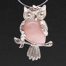 Trendy-beads Personalized Silver Plated Owl Shape Natural Rose Pink Quartz Pendant For Women Jewelry