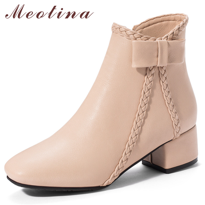 Meotina Women Boots Toe-Shoes Square Chunky High-Heel Zipper Female Autumn Big-Size 33-43