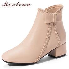 все цены на Meotina Women Boots Autumn Ankle Boots PU Leather Bow Chunky High Heel Short Boots Zipper Square Toe Shoes Female Big Size 33-43 онлайн