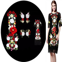Super Large Multicolor Flower Embroidered Patches Applique Organza Fabric Sew On Clothes Dress Patches Accessory 76*31CM