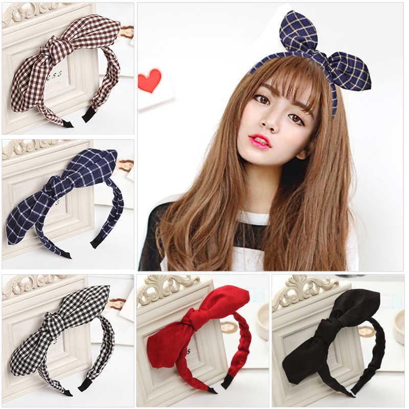 1PC Fashion Plaid Big Bow Hairband Fabric Headbands For Kids Rabbit Ears  Hair Hoop Women Headdress df9f679d460e