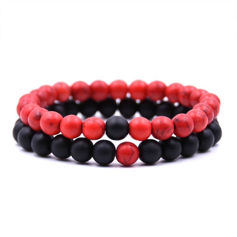 2Pcs Set Couples Distance Bracelet Classic Natural Stone White Black 4 colors collocation Beaded Bracelets for Men Women in Strand Bracelets from Jewelry Accessories