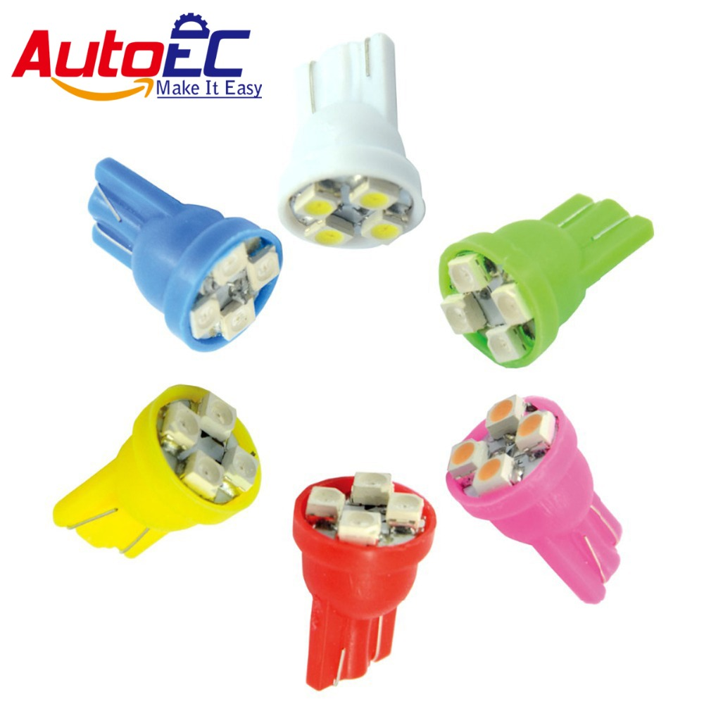 AutoEC 100X Car Turn signals <font><b>LED</b></font> lamps <font><b>T10</b></font> 194 168 W5W 4SMD 3528 <font><b>LED</b></font> <font><b>4300K</b></font>-6000k white red blue green yellow pink #LB01 image