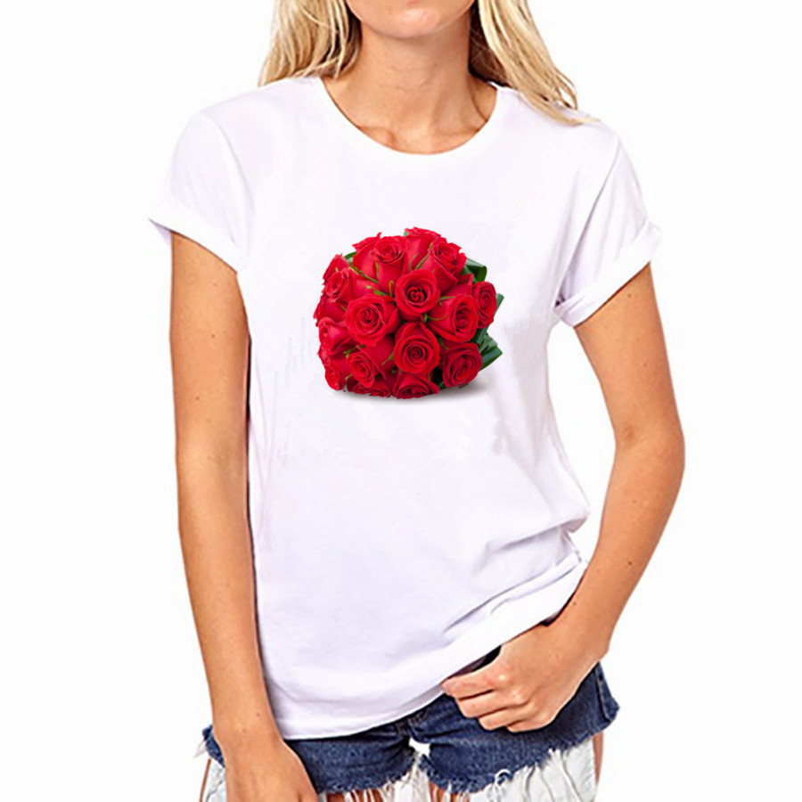 2016 Casual Women Cotton T-shirt Red Rose 21 Colors Print Round Neck Short Sleeved Women Top Shirt NFS-YH33