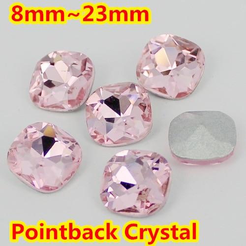 Plaza Rosa claro Cristalino de la Forma Fancy Stone Point Volver Cristal de Piedra Para La Joyería de DIY Accessory.8mm 10mm 12mm 14mm 18mm 23mm
