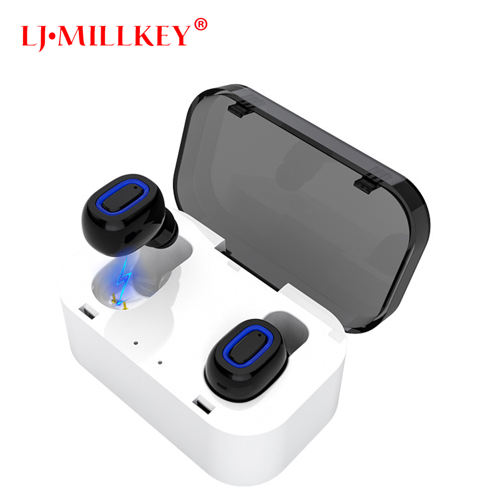 TWS Invisible Mini Headset 3D Stereo Hands-free Noise Reduction Bluetooth Headset Wireless Earphones and Power Bank box YZ132 mini wireless headphone bluetooth earphone earbuds airpods tws headset for hands free calling with power bank for mobile