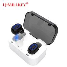 TWS Invisível Mini Fone de Ouvido Estéreo 3D Hands-free caixa de Redução de Ruído fone de Ouvido Bluetooth Fones de Ouvido Sem Fio e Banco De Potência YZ132