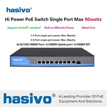 цена на Hi power 65W 90W POE Gigabit  switch support AF/AT/BT with 8 ports Gigabit Hi PoE Switch poe 48v switch