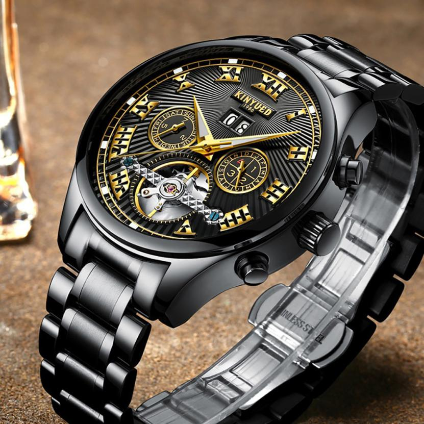 Mens Watches Top Brand Luxury Hollow Skeleton Automatic Watch Calendar Watch 10.24