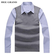 HEE GRAND Men Casual Knitted Vest 2017 New Arrival V-Neck Whole Cotton Material Spring Autumn Sweater Vest Size M-3XL MZB032