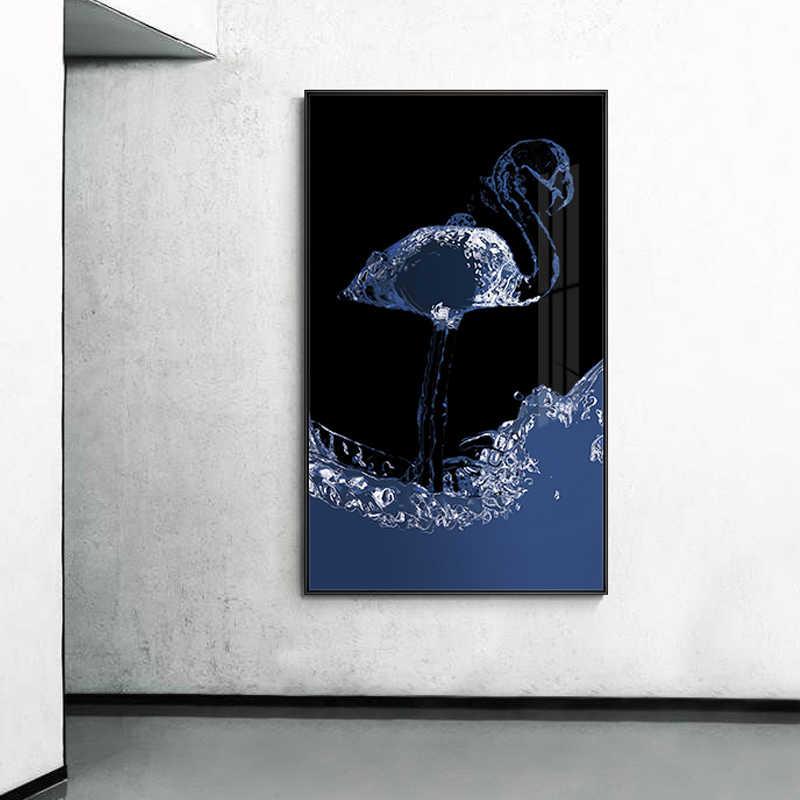 Schwarz Und Weiß Whale Flamingo Poster n Druck Mode Cuadros Leinwand Malerei Wand Kunst Für Wohnzimmer Kreative Hause Decoracion