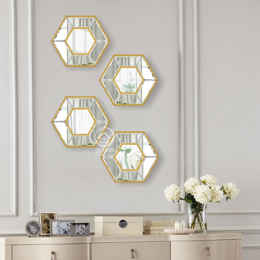 Us 122 85 9 Off Hexagon Gl Wall Mirror Photo Frame Art Mirrored Picture Console Set Decorative In From Home