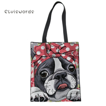 ELVISWORDS Women Reusable Linen Bags Boston Terrier Printing Large Storage Canvas Shoulder Bag For Girls Causal Shopping Tote cute boston terrier tote bags light color double sided printing canvas animals tote bag art dog designed shopping handle bags