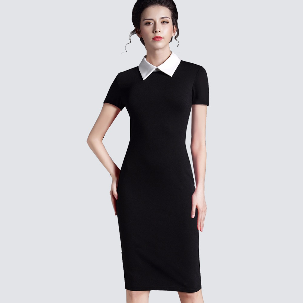 Buy Cheap plus size women clothing vintage red black women business office short sleeve casual Bodycon winter Dress Pencil 751