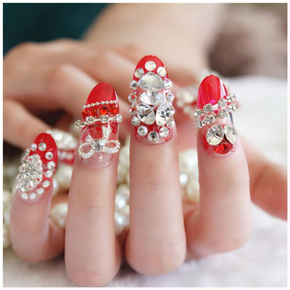 Mode 24 stücke/Boxed Braut Gefälschte Nägel Diamant Schmetterling ...