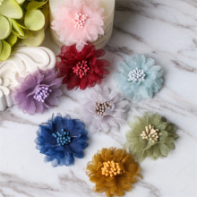 50pcs/lot 8colors 4cm Handmade Pretty Chiffon Flowers for Beach Shoes Kids Girls Headbands DIY Ornaments Hair Decorative Crafts