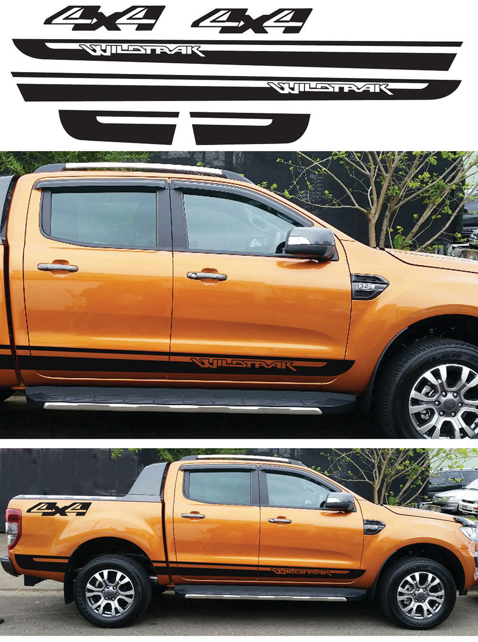 one set tailgate and door side stripe graphic vinyl car sticker for Ford ranger 2012 2013 2014 2015 2016 pickup accessories 58cm x 25 38cm 2 x ice hockey player sports graphic one for each side car sticker for truck door side vinyl decal 8 colors