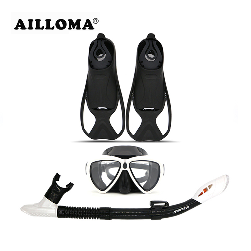 AILLOMA Diving Mask Snorkel Fins Set Adult Full Dry Tube Flipper Scuba Anti-Fog Swimming Goggles Breathing Equipment sets anti fog full face snorkeling mask diving snorkel 180 degree vision for gopro free breathing dive gear tube swimming diving mask