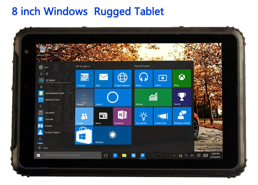 """2019 China Windows 10 Pro 8"""" Industrial Rugged Tablet PC Computer MINI Waterproof Phone Dustproof 2G RAM GPS 4G LTE Android 5.1"""