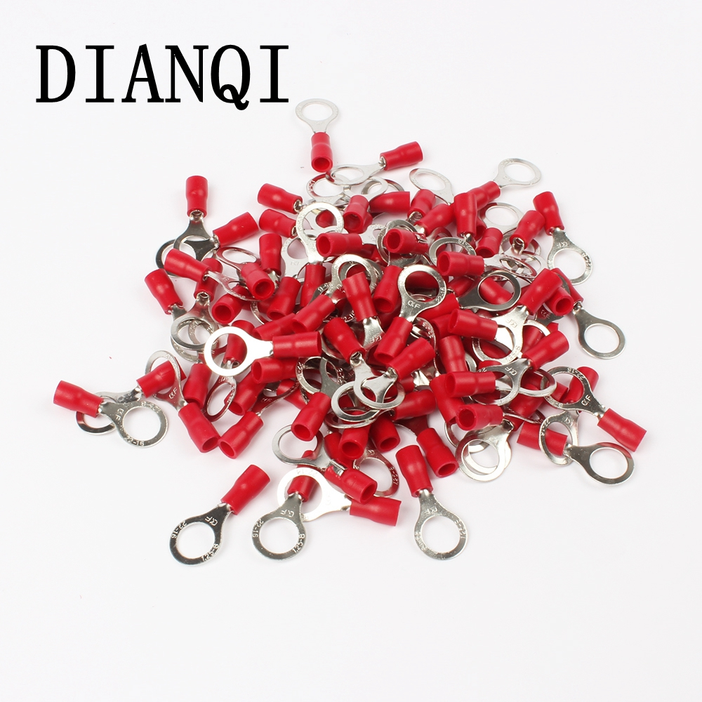 DIANQI RV1.25-8 Red Circular 22-16 AWG 0.5-1.5mm2 Insulated Ring Terminal Connector Cable Wire Connector 100PCS/Pack RV1-8 RV 1meter red 1meter black color silicon wire 10awg 12awg 14awg 16 awg flexible silicone wire for rc lipo battery connect cable