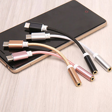 centechia  AUX audio cable  USB Type C to 3.5 Earphone Adapter Type-C to 3.5mm Headphone converter for xiaomi 6 Letv Le2