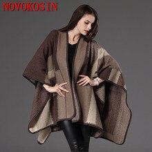 Women Faux Cashmere Loose Plaid Pashmina 2020 Autumn Knitted New Cardigan Fashion Back Long Shawl Coat