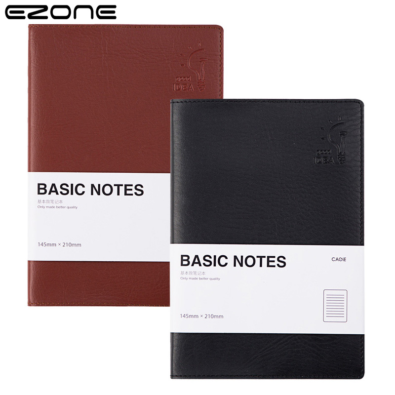 EZONE Business Style Notebook PU Cover Planner Organizer Notepad Traveler Journey Daily Diary School Office Supply Papelaria a5b5 silver coil pp frosted cover notebook office school papelaria multifunctional organizer diario elastic binder planner