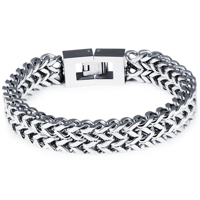 Trendy Men Stainless Steel Bracelet Overlord Thick Chunky Bicycle Motorcycle Chain Anium Male