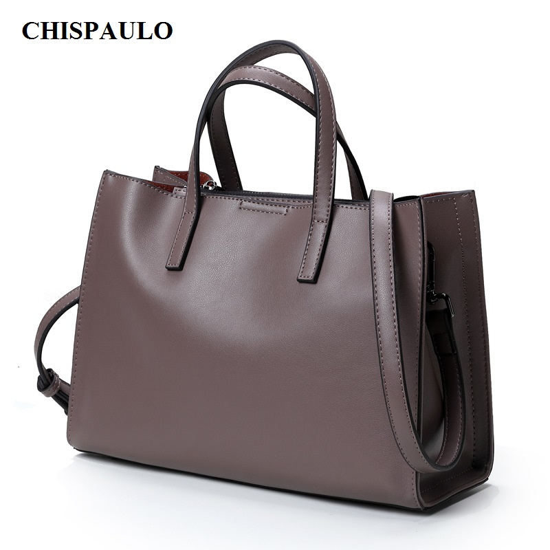CHISPAULO Women Genuine Leather Handbags Cowhide Famous Brands Designer Handbags High Quality Tote Bag European Fold Style C103 2018 soft genuine leather bags handbags women famous brands platband large designer handbags high quality brown office tote bag