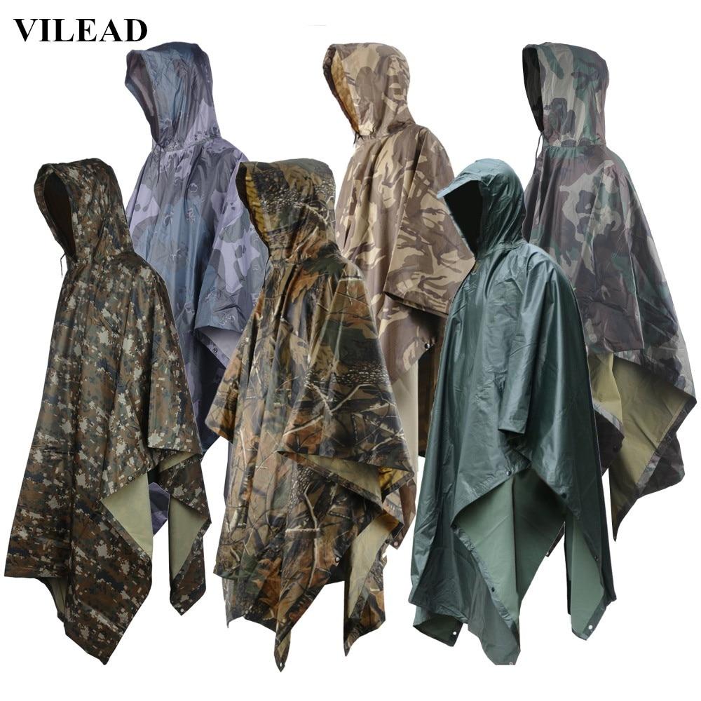 VILEAD многофункционални военни непромокаеми Camo дъждобран водоустойчив дъжд палто мъже жени къмпинг риболов мотоциклет дъжд пончо