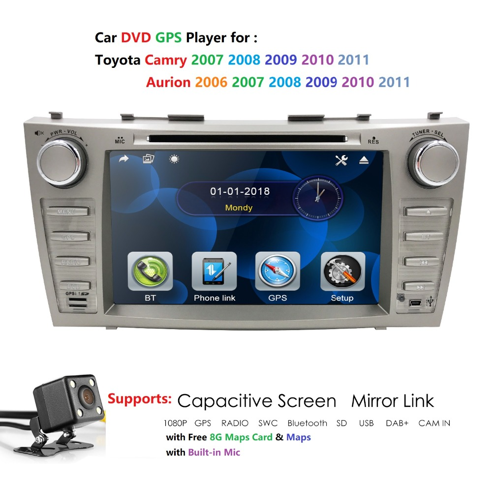 Car DVD GPS For TOYOTA CAMRY AURION 2007 2011 with RDS 2 din dvd car stereo gps navigation map navitel camry dvd steering wheel