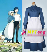 Miyazaki Hayao Anime Howl's Moving Castle Sophie Cosplay costume Maid Dress Halloween Costume for women Free shipping