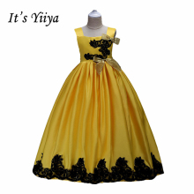 It's YiiYa 5 Colors Bow Lace Ruched  Sleeveless Floor-Length  Kids Princess Flower girls Dress Cute Little Girls TS041