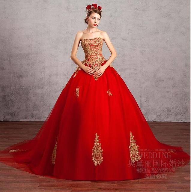 Vintage Red Ballkleid Brautkleider 2017 Schatz Nicht Weiß Gold ...