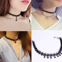 Free shipping Wholesale 2017 fashion trendy sexy hollow flower pendant water drop chokers necklace collar Jewellry women jewelry