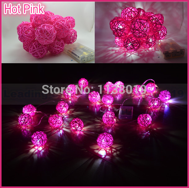 20pcs Hot Pink Fuchsia Battery Powed LED Handmade Rattan Ball String Fairy Light Wedding Party XMAS Home Decoration