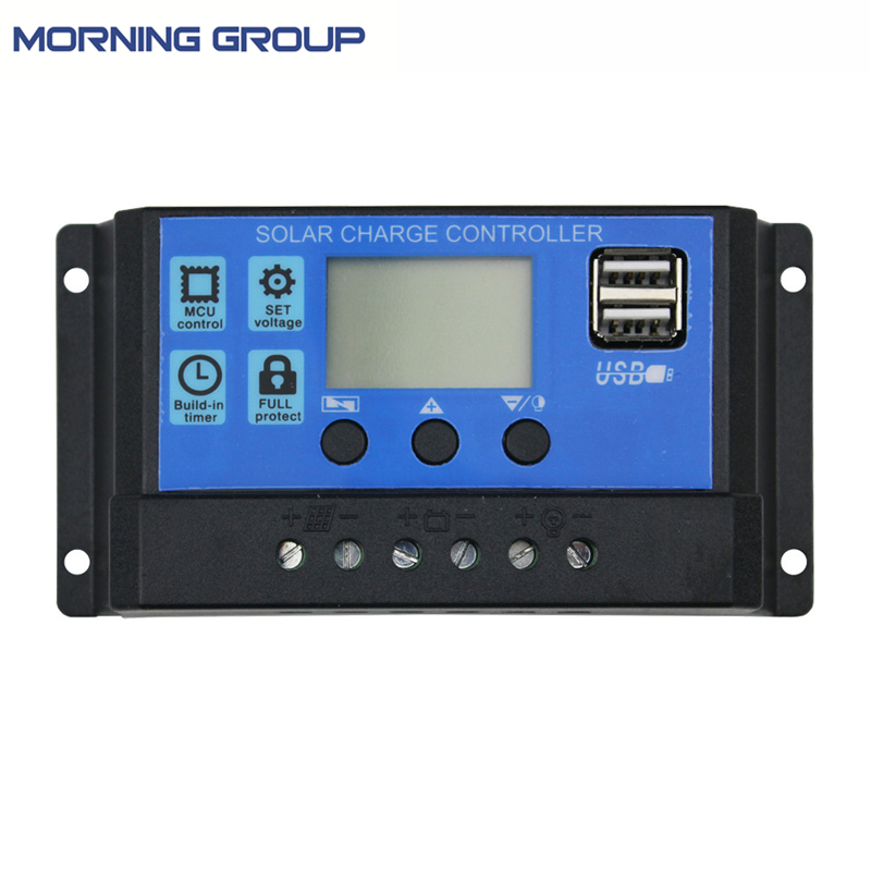 PWM Solar Charge Controller Solar panel Regulator with Dual USB Port LCD Display Overload Protection 10A 20A 30A 12V 24V Auto 2 pin thermal overload protection