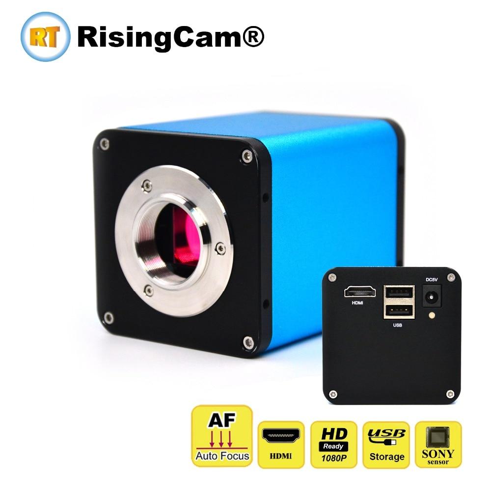Auto focus U drive storage 1080p HDMI 60fps SONY CMOS sensor C mount industrial stereo microscope