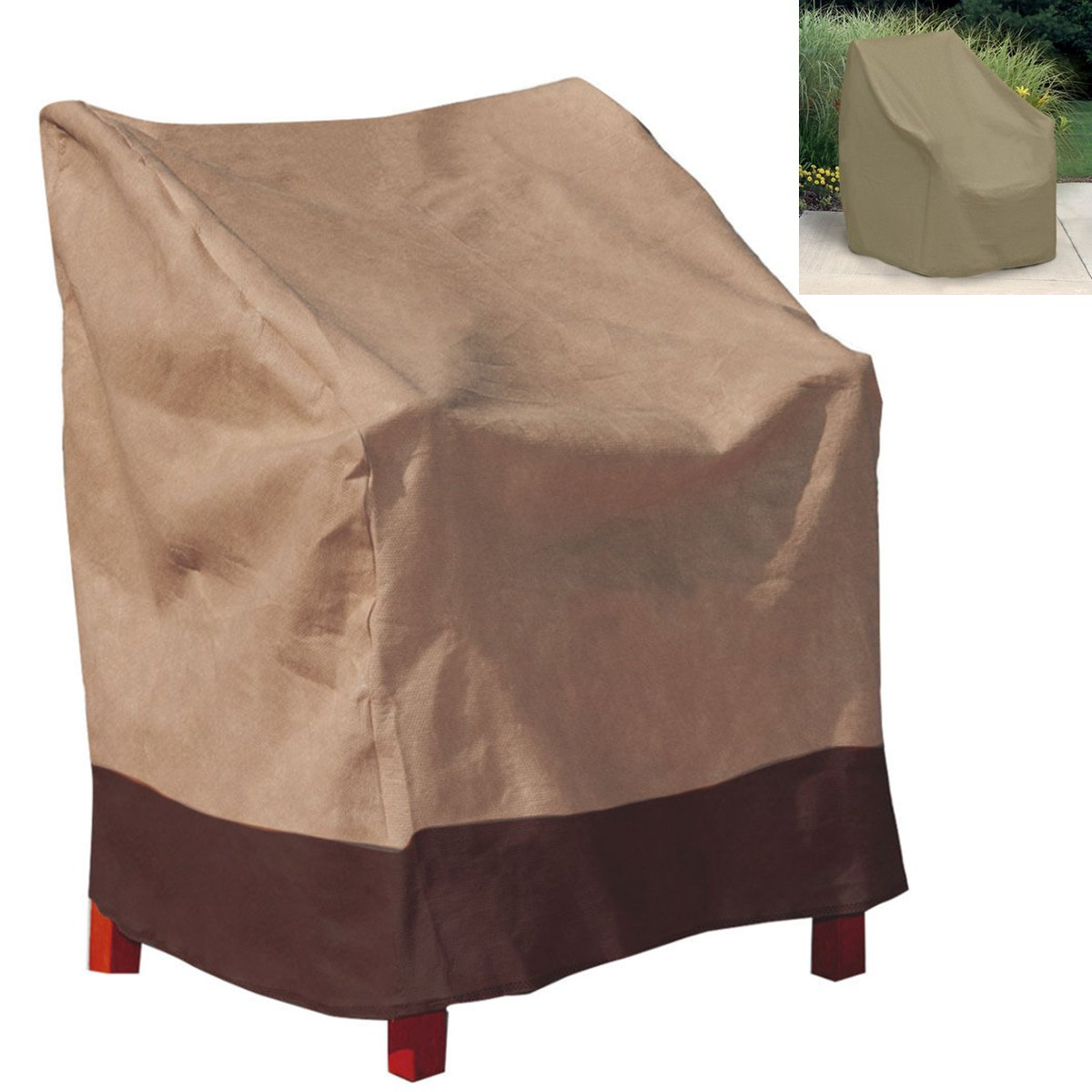 Patio Chair Cover Polyester Waterproof Single High Back Chair Covers Outdoor  Yard Furniture Protective Cover Textiles Supplies In Chair Cover From Home  ...