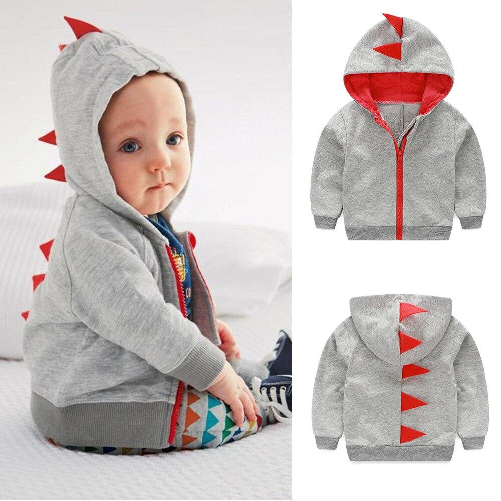 2018 Детское пальто детские пальто для младенцев Одежда для малышей мальчиков и девочек с принтом динозавра на молнии с капюшоном Верхняя оде...
