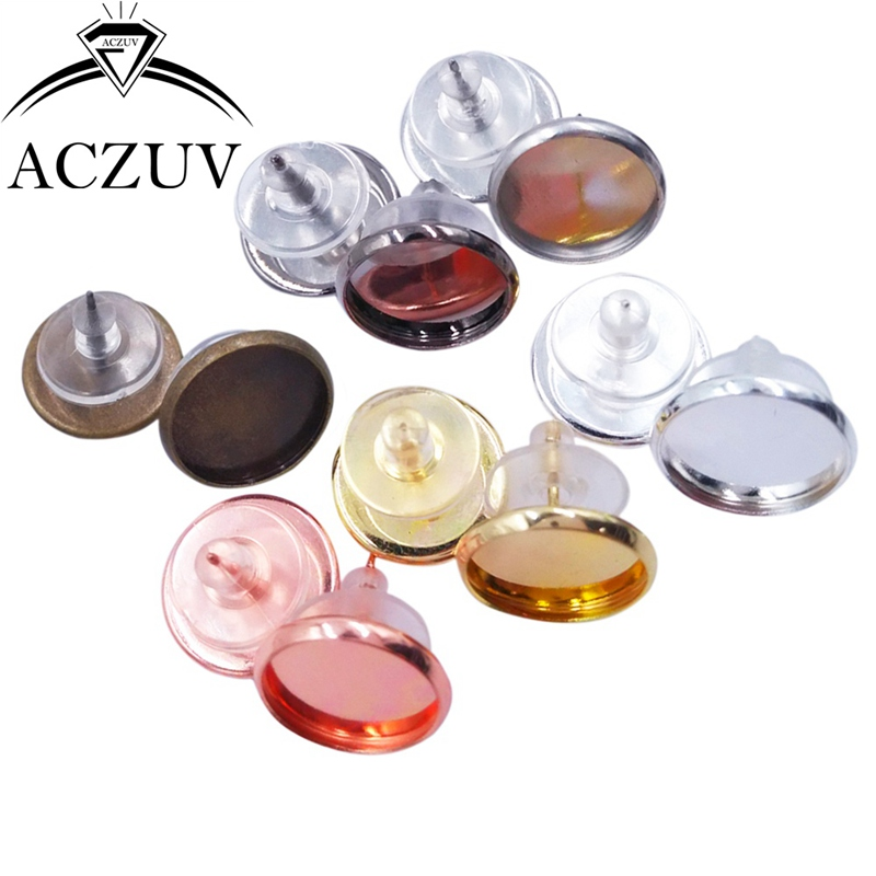 200pcs/Lot Fit 8mm 10mm 12mm 14mm 16mm Glass Cabochon Cameo Base Setting Bezel Blank Earring Posts W/ Rubber Stopper Backs