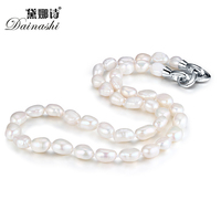 Dainashi Genuine Natural Fresh Water Irregular Baroque Pearl Necklace 925 Sterling Silver Accessories Fine Jewelry For