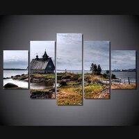 Có khung 5 Bảng Điều Chỉnh Tường Nghệ Thuật Vẽ Tranh Tuổi Căn Nhà Nhỏ trên Sông Shore Modular Hình Ảnh Top-rated Tường Hình Ảnh Đối Với Living phòng