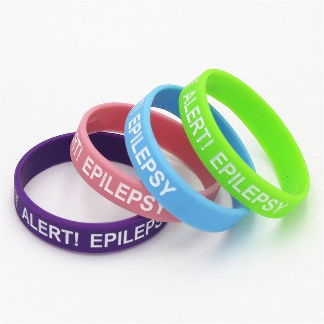 1pc Medical Alert Bracelet Epilepsy Silicone Wristband In Kids Size Armband Bracelets Bangles For Gifts