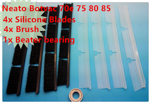 4x Silicone Blades + 4x Brush + 1x Beater bearing Replacement for Neato Botvac 70e 75 80 85 Automatic Vacuum Cleaner Robots 4x silicone blades 4x brush 1x beater bearing replacement for neato botvac 70e 75 80 85 automatic vacuum cleaner robots