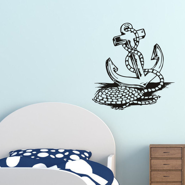 Rope and anchor wall sticker beautiful art mural mautical removable wall decal vinyl self adhesive home